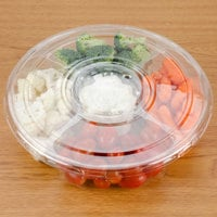 Polar Pak 5E068A-4+1P-C 10 inch Clear PET Round 5 Compartment Catering Tray with Lid - 100/Case