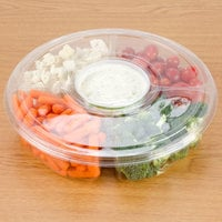 Polar Pak 5H138-4+1P-C 13 inch Clear PET Round 5 Compartment Catering Tray with Lid   - 5/Pack