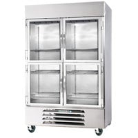Beverage-Air HBR49HC-1-HG 2 Section Glass Half Door Bottom-Mounted Reach-In Refrigerator with LED Lighting - 49 Cu. Ft.