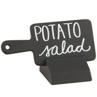 Cal-Mil 3345-13 Black Write-On Paddle Sign with Stand - 4 1/2 inch x 2 inch