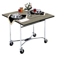 Lakeside 413BS Mobile Square Top Room Service Table with Beige Suede Finish - 36 inch x 36 inch x 30 inch