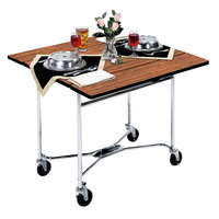 Lakeside 413BL Mobile Square Top Room Service Table with Victorian Cherry Finish - 36 inch x 36 inch x 30 inch