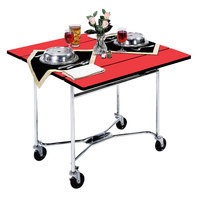Lakeside 413RD Mobile Square Top Room Service Table with Red Finish - 36 inch x 36 inch x 30 inch