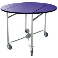 Lakeside 412P Mobile Round Top Room Service Table with Purple Finish - 40 inch x 40 inch x 30 inch