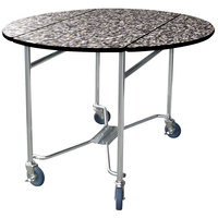 Lakeside 412GS Mobile Round Top Room Service Table with Gray Sand Finish - 40 inch x 40 inch x 30 inch