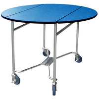 Lakeside 412BL Mobile Round Top Room Service Table with Royal Blue Finish - 40 inch x 40 inch x 30 inch