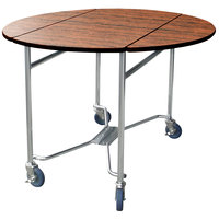 Lakeside 412VC Mobile Round Top Room Service Table with Victorian Cherry Finish - 40 inch x 40 inch x 30 inch