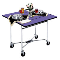 Lakeside 413P Mobile Square Top Room Service Table with Purple Finish - 36 inch x 36 inch x 30 inch