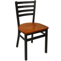BFM Seating 2160CCHW-SB Lima Metal Ladder Back Side Chair with Cherry Wooden Seat