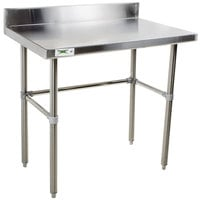Regency 24 inch x 36 inch 16-Gauge 304 Stainless Steel Commercial Open Base Work Table with 4 inch Backsplash
