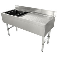 Advance Tabco CRW-4L Stainless Steel Ice Bin and Drainboard Combo Unit - 48 inch x 21 inch (Left Side Ice Bin)