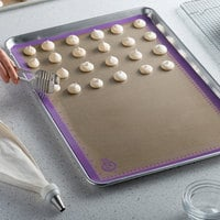 Mercer Culinary M31087PU Allergen Safe™ Full Size Purple Silicone Baking Mat - 16 1/2 inch x 24 1/2 inch