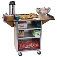 Lakeside 672W Stainless Steel Drop-Leaf Beverage Service Cart with 3 Shelves and Walnut Vinyl Finish - 33 1/8 inch x 21 inch x 38 1/4 inch