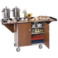 Lakeside 675W Stainless Steel Drop-Leaf Beverage Service Cart with 3 Shelves and Walnut Vinyl Finish - 44 1/4 inch x 24 inch x 38 1/4 inch
