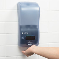 San Jamar SH900TBL Rely Arctic Blue Hybrid Touchless Soap, Sanitizer, and Lotion Dispenser - 5 1/2 inch x 4 inch x 12 inch