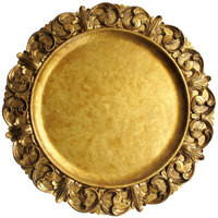The Jay Companies 1320391 14 inch Round Emboss Gold Plastic Charger Plate