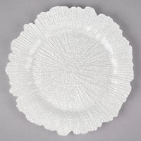 The Jay Companies 1470110-WH 13 inch Round Reef White Glass Charger Plate