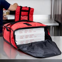 San Jamar PB17 17 inch x 16 1/2 inch x 5 inch Insulated Red Nylon Pizza Delivery Bag