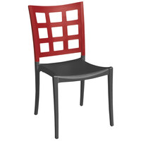 Grosfillex XA646202 / US646202 Plazza Apple Red / Charcoal Indoor / Outdoor Stacking Chair - Pack of 4