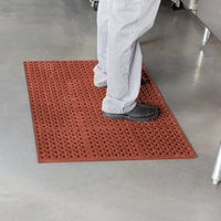 Cactus Mat 2521-R3S VIP Lite 29 inch x 39 inch Red Grease-Resistant Rubber Anti-Fatigue Floor Mat - 1/2 inch Thick