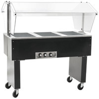 Eagle Group BPDHT3 Deluxe Service Mates Three Pan Open Well Portable Hot Food Buffet Table with Open Base - 240V, 1 Phase