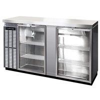 Continental Refrigerator BB69SNSSGD 69 inch Stainless Steel Shallow Depth Glass Door Back Bar Refrigerator