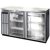 Continental Refrigerator BB59SNSSGD 59 inch Stainless Steel Shallow Depth Glass Door Back Bar Refrigerator