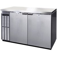 Continental Refrigerator BB50SNSS 50 inch Stainless Steel Shallow Depth Solid Door Back Bar Refrigerator