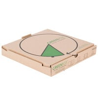 "GreenBox 14"" x 14"" x 1 3/4"" Corrugated Recycled Pizza Box with Built-In Plates and Storage Container - 50/Bundle"