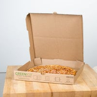 GreenBox 14 inch x 14 inch x 1 3/4 inch Corrugated Recycled Pizza Box with Built-In Plates and Storage Container - 50/Bundle