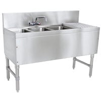 Advance Tabco PRB-19-43L 3 Compartment Prestige Series Underbar Sink with (1) 11 inch Drainboard and Splash Mount Faucet - 20 inch x 48 inch