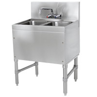 Advance Tabco PRB-19-22C 2 Compartment Prestige Series Underbar Sink with Splash Mount Faucet - 20 inch x 24 inch