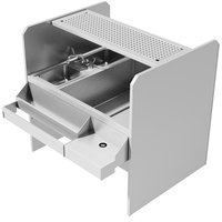 Advance Tabco PR-44X42SP-10-R Prestige Series Stainless Steel Pass-Through Workstation with Perforated Drainboard Shelf - (Right Side Ice Bin)
