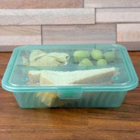 GET EC-16 Eco-Takeouts 9 inch x 9 inch Jade Flat Top Customizable 3-Compartment Take Out Container - 12/Case