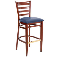 Lancaster Table & Seating Spartan Series Bar Height Metal Ladder Back Chair with Mahogany Wood Grain Finish and Navy Vinyl Seat - Detached Seat