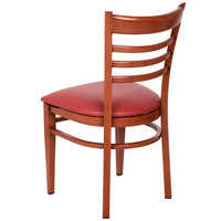 Lancaster Table & Seating Spartan Series Metal Ladder Back Chair with Mahogany Wood Grain Finish and Red Vinyl Seat - Detached Seat