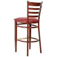 Lancaster Table & Seating Spartan Series Bar Height Metal Ladder Back Chair with Mahogany Wood Grain Finish and Red Vinyl Seat - Detached Seat