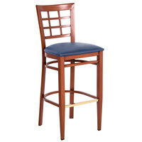 Lancaster Table & Seating Spartan Series Bar Height Metal Window Back Chair with Mahogany Wood Grain Finish and Navy Vinyl Seat - Detached Seat