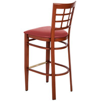 Lancaster Table & Seating Spartan Series Bar Height Metal Window Back Chair with Mahogany Wood Grain Finish and Red Vinyl Seat - Detached Seat