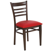 Lancaster Table & Seating Spartan Series Metal Ladder Back Chair with Walnut Wood Grain Finish and Red Vinyl Seat - Detached Seat