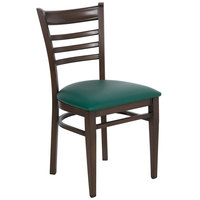Lancaster Table & Seating Spartan Series Metal Ladder Back Chair with Walnut Wood Grain Finish and Green Vinyl Seat - Detached Seat