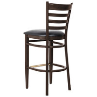 Lancaster Table & Seating Spartan Series Bar Height Metal Ladder Back Chair with Walnut Wood Grain Finish and Black Vinyl Seat - Detached Seat