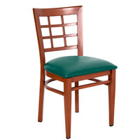 Lancaster Table & Seating Spartan Series Metal Window Back Chair with Mahogany Wood Grain Finish and Green Vinyl Seat - Detached Seat