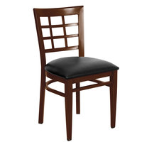 Lancaster Table & Seating Spartan Series Metal Window Back Chair with Walnut Wood Grain Finish and Black Vinyl Seat - Detached Seat