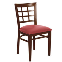 Lancaster Table & Seating Spartan Series Metal Window Back Chair with Walnut Wood Grain Finish and Red Vinyl Seat - Detached Seat