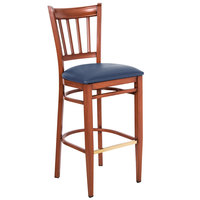Lancaster Table & Seating Spartan Series Bar Height Metal Slat Back Chair with Mahogany Wood Grain Finish and Navy Vinyl Seat - Detached Seat