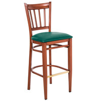 Lancaster Table & Seating Spartan Series Bar Height Metal Slat Back Chair with Mahogany Wood Grain Finish and Green Vinyl Seat - Detached Seat