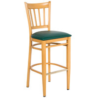Lancaster Table & Seating Spartan Series Bar Height Metal Slat Back Chair with Natural Wood Grain Finish and Green Vinyl Seat - Detached Seat