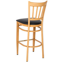 Lancaster Table & Seating Spartan Series Bar Height Metal Slat Back Chair with Natural Wood Grain Finish and Black Vinyl Seat - Detached Seat