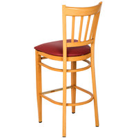Lancaster Table & Seating Spartan Series Bar Height Metal Slat Back Chair with Natural Wood Grain Finish and Red Vinyl Seat - Detached Seat
